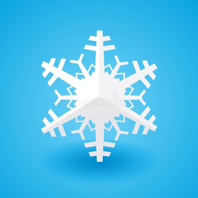 Снежинка рождества белой бумаги на голубой предпосылке с тенью бесплатная иллюстрация