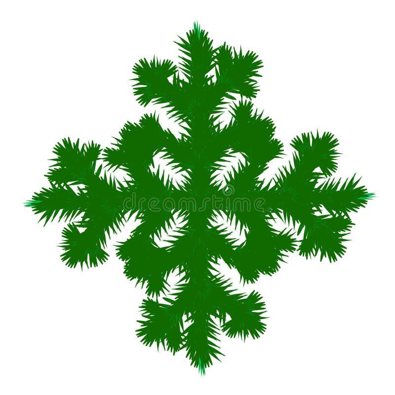 Снежинка сделанная ветвей рождественской елки, приветствий рождества, Нового Года Концепция на зимние отдыхи иллюстрация вектора