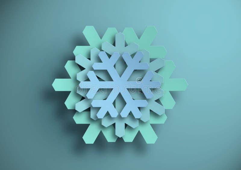 снежинки Бумажный вырез голубая бумага иллюстрация стоковые фотографии rf