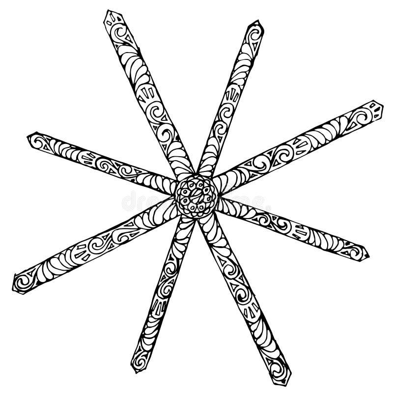 Снежинки в стилизованном стиле zentangle, monochrome иллюстрация штока