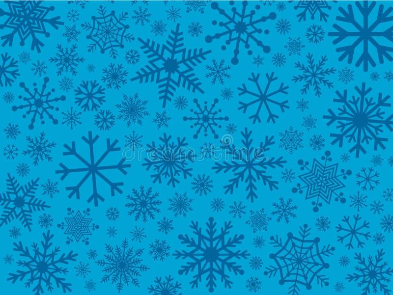 Снежинки в тенях сини иллюстрация штока