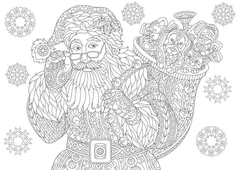 Снежинки года сбора винограда Санта Клауса и рождества иллюстрация штока