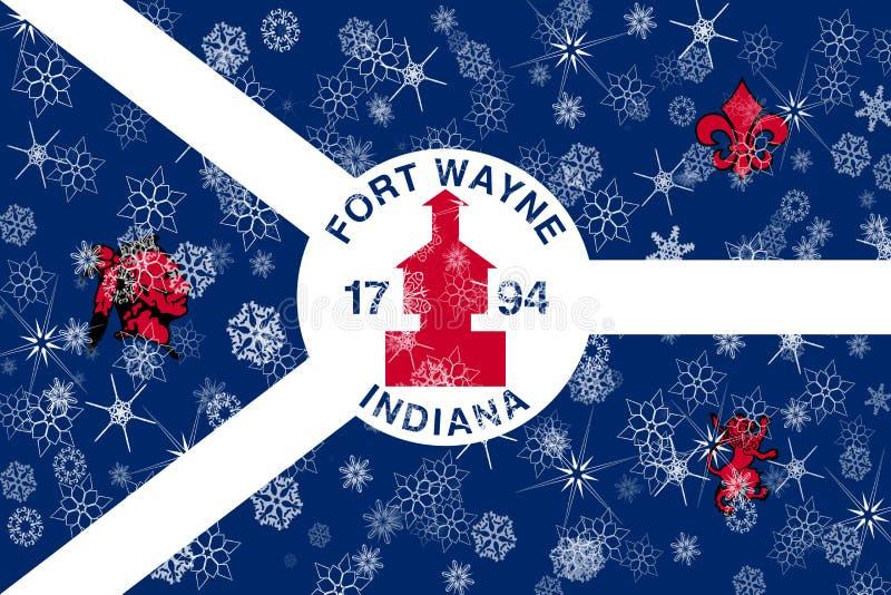 Снежинки зимы Fort Wayne, Индианы сигнализируют предпосылку положения америки соединили иллюстрация вектора