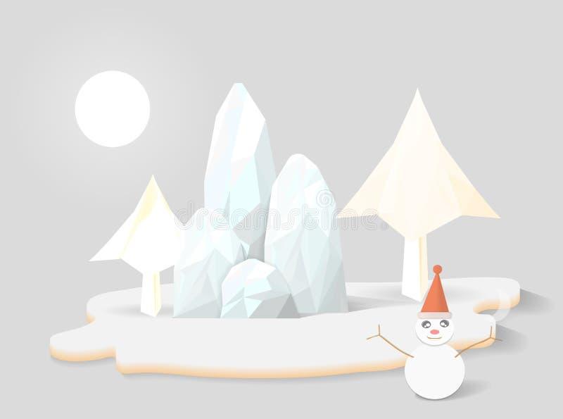Снежинки и полигон горы иллюстрация вектора