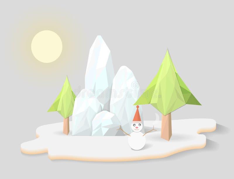 Снежинки и полигон горы иллюстрация штока