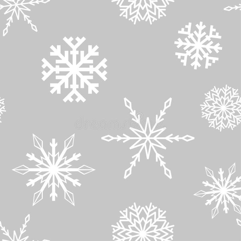 снежинки картина безшовная Белый и серый орнамент зимы иллюстрация штока
