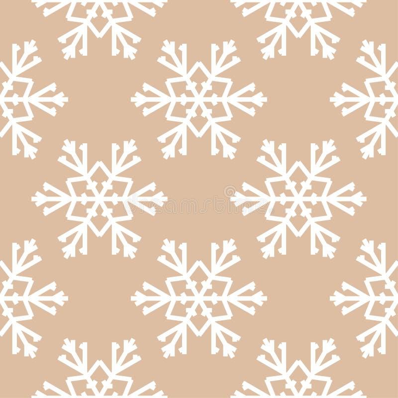 снежинки картина безшовная Орнамент зимы Брайна бежевый иллюстрация вектора