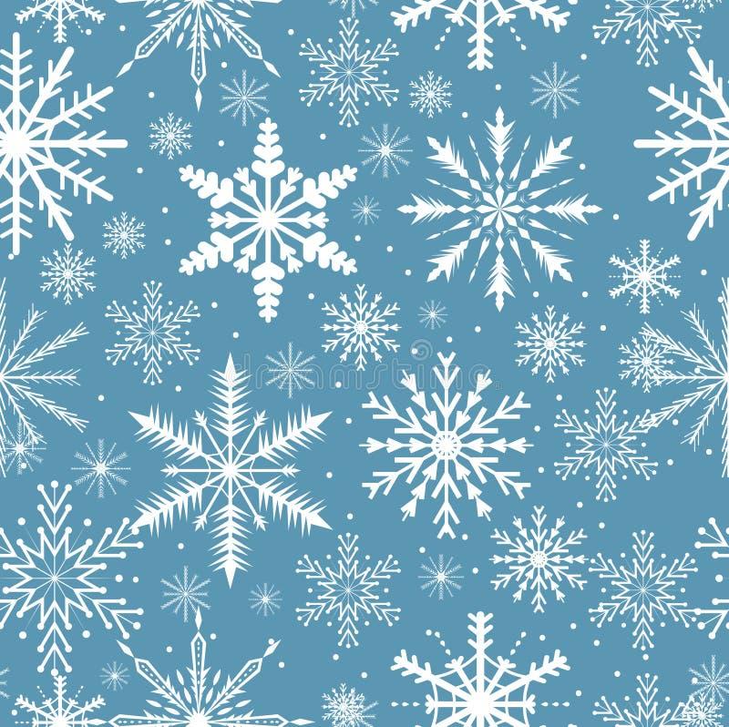 снежинки картины безшовные Морозная повторяя текстура Предпосылка рождества и Нового Года бесконечная также вектор иллюстрации пр иллюстрация штока