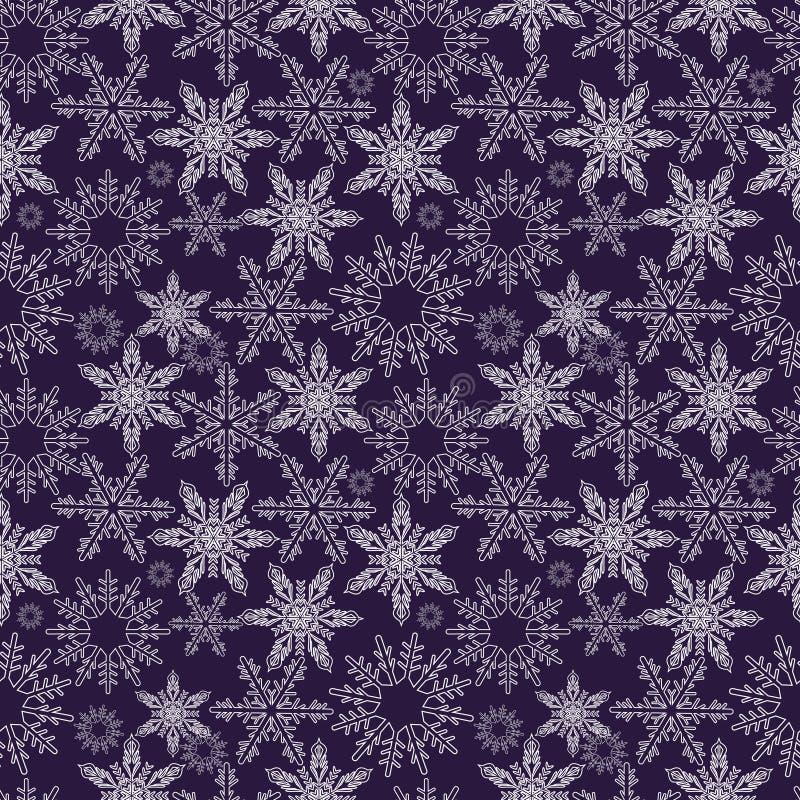 снежинки картины безшовные Новые Годы идут снег бесконечная предпосылка, зима повторяя фон рождества текстуры вектор иллюстрация штока