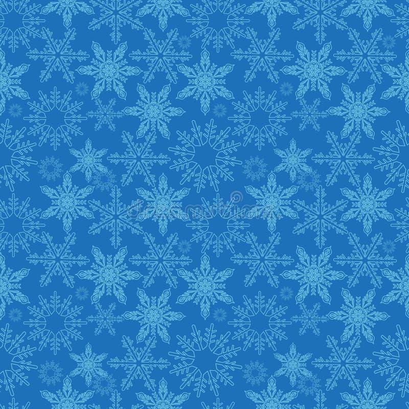 снежинки картины безшовные Новые Годы предпосылки снега бесконечной, зимы повторяя текстуру Фон рождества вектор иллюстрация штока