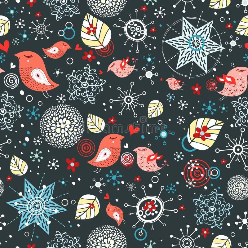 снежинки картины влюбленности птиц иллюстрация штока