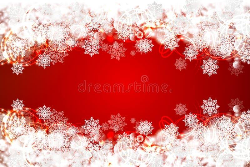снежинки красного цвета рождества предпосылки иллюстрация вектора