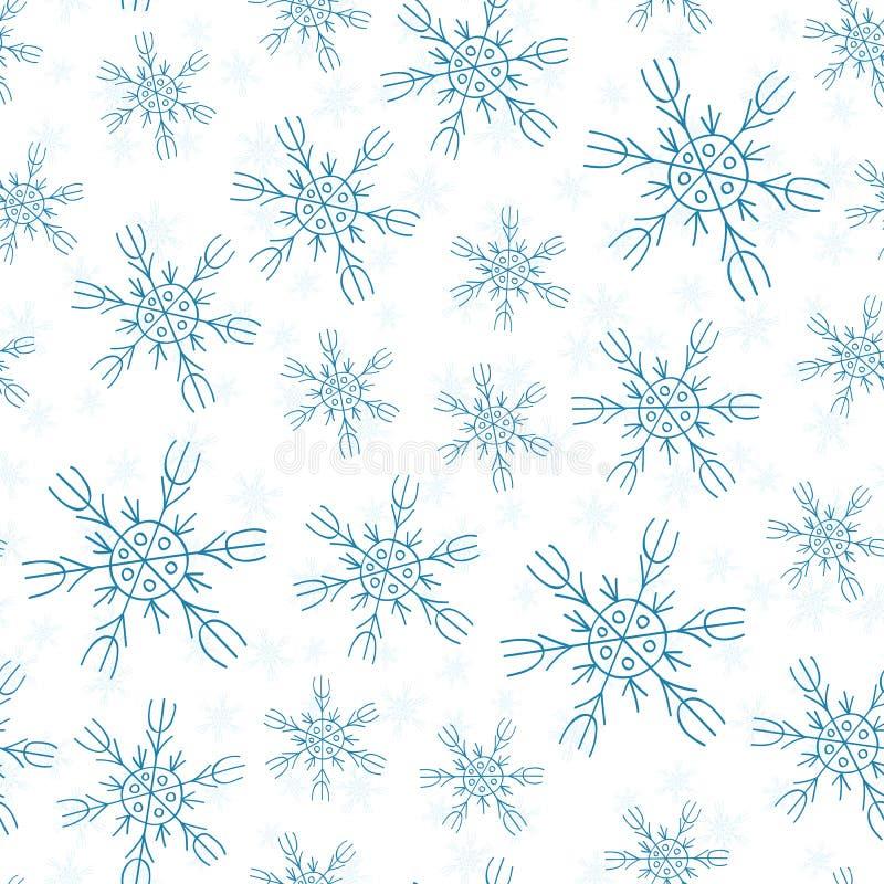 снежинки на картине белой предпосылки безшовной бесплатная иллюстрация