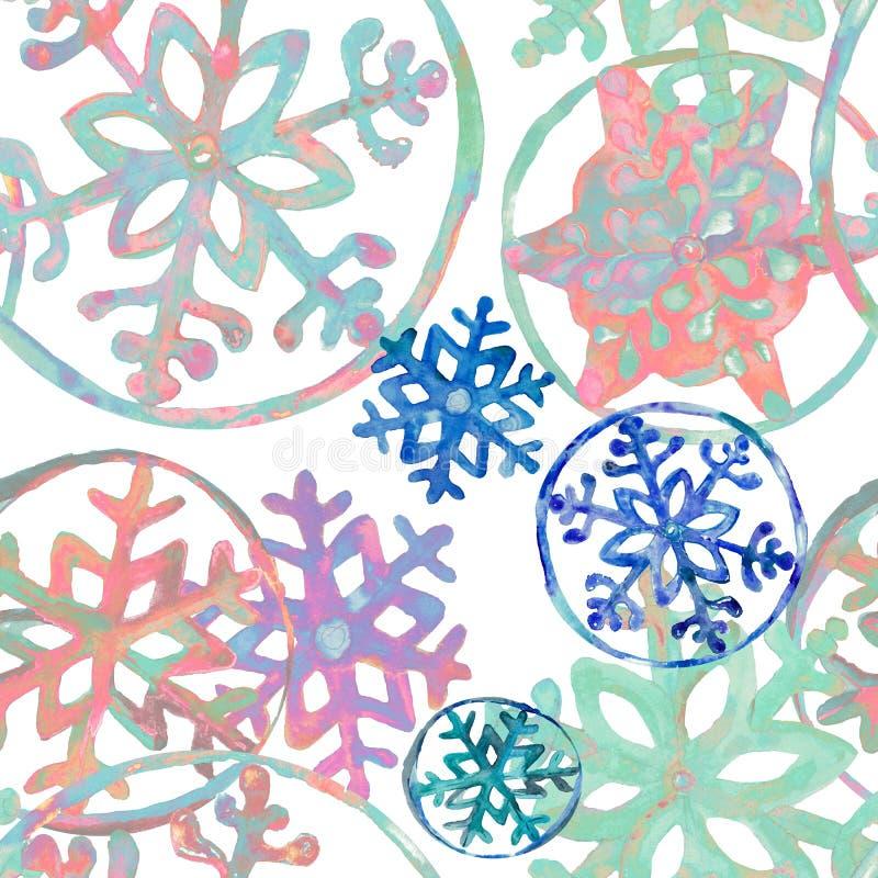 Снежинки неон-цвета текстуры Aqwarelle бесплатная иллюстрация