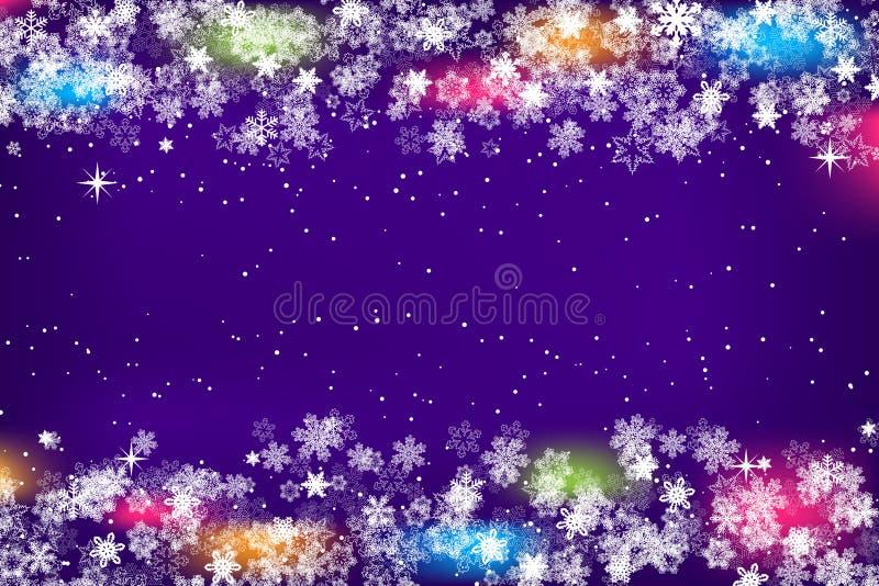 Снежинки обрамляют с яркой предпосылкой на шаблон сезон рождества и Нового Года или зимы для inviation, поздравительной открытки, иллюстрация штока