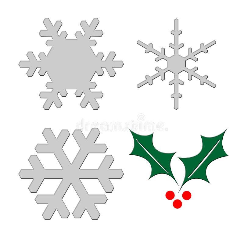 снежинки падуба бесплатная иллюстрация