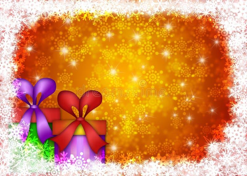 снежинки подарков на рождество граници иллюстрация вектора
