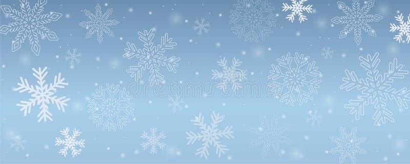 Снежинки предпосылки зимы Snowy в голубом небе иллюстрация вектора