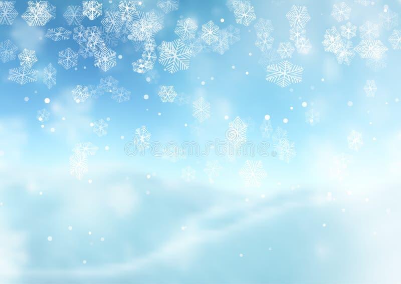 Снежинки рождества на defocussed предпосылке бесплатная иллюстрация