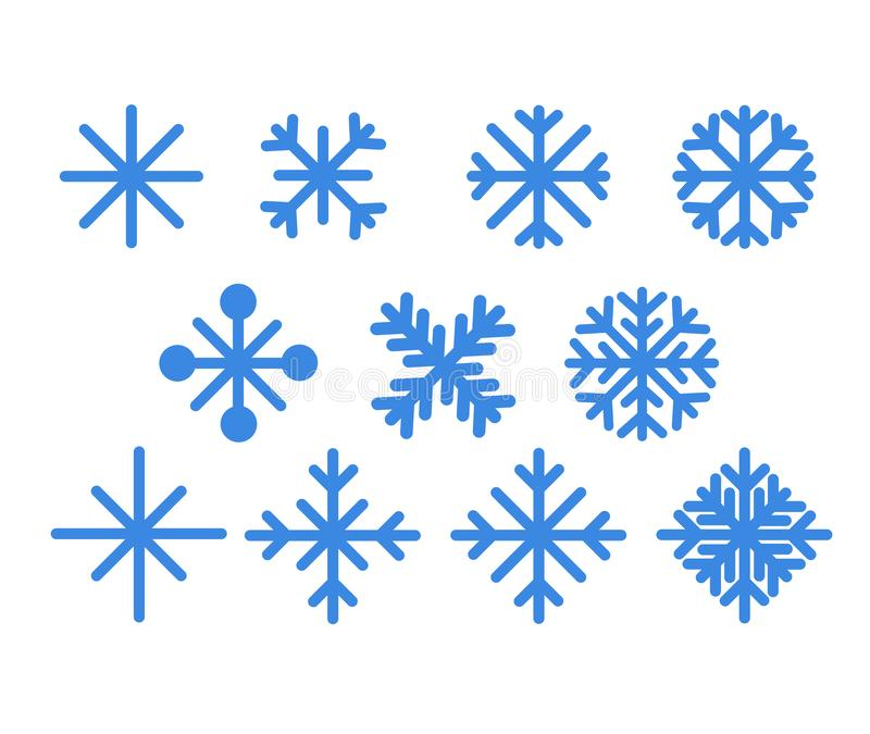 снежинки сини установленные Значки вектора дизайна рождества изолированные на белой предпосылке Силуэты снежинки Символ снега, пр иллюстрация вектора