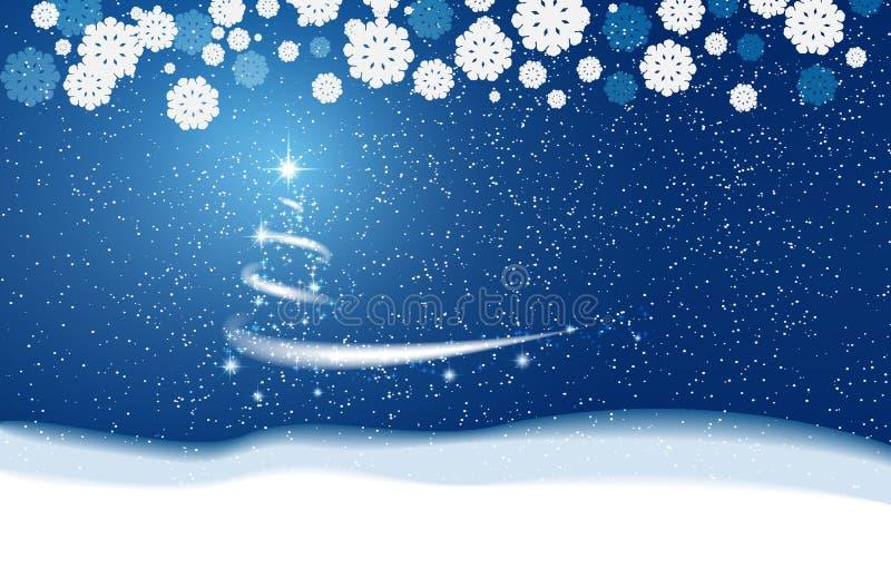 снежинки снежка рождества предпосылки голубые блицкрига Звезды и снег иллюстрация вектора