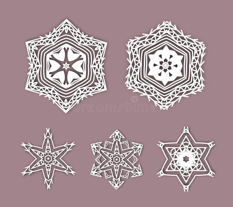 Снежинки с влиянием 3D, значки логотипа, зима иллюстрация вектора