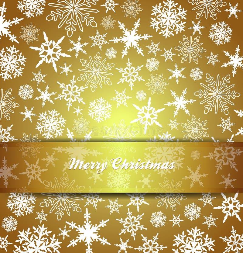 Снежинки с Рождеством Христовым рождественской открытки - предпосылка золота иллюстрация вектора