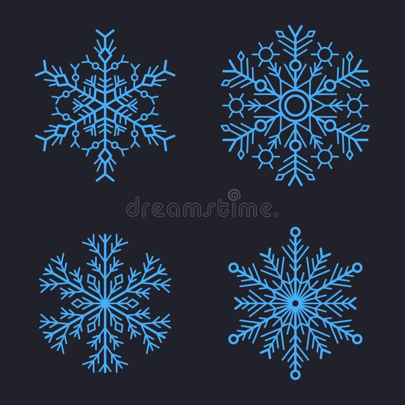Снежинки установленные для дизайна зимы рождества вектор иллюстрация штока