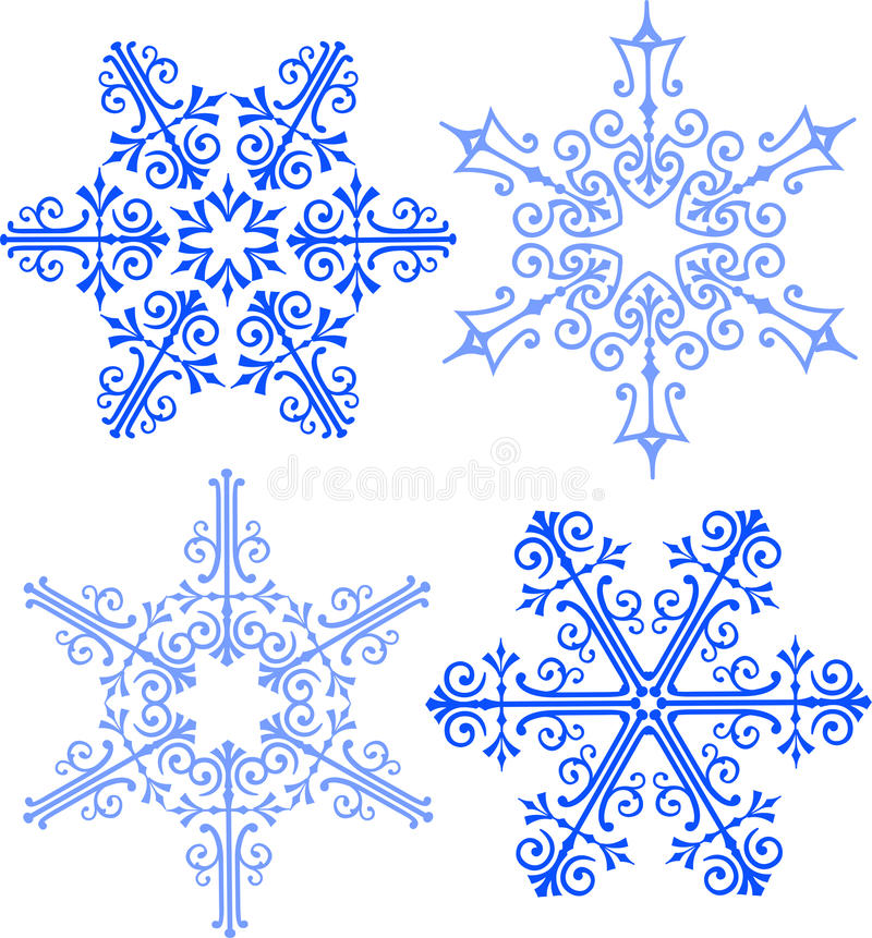 снежинки ai шикарные викторианские иллюстрация вектора