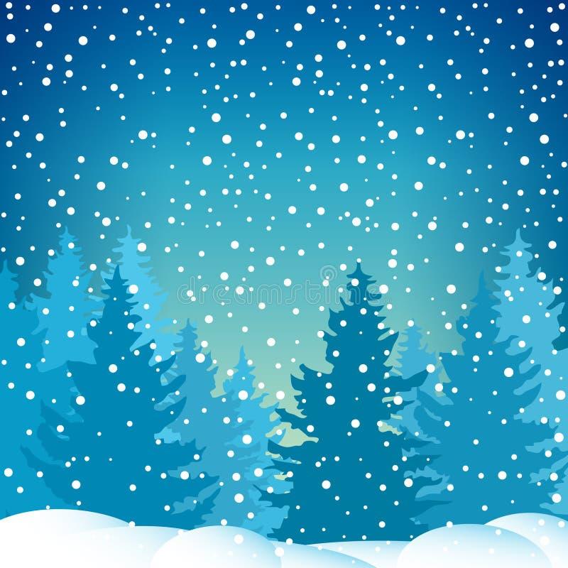 Снежности в елевом лесе иллюстрация вектора