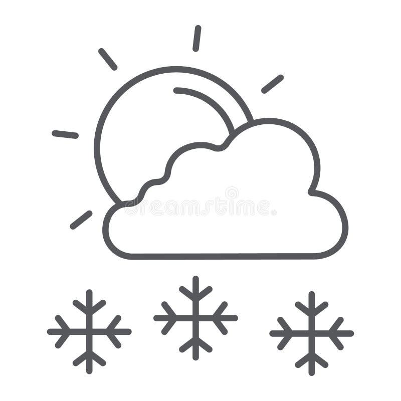 Снежности в знаке линии значка, погоды и прогноза, солнца и снега солнечного дня тонком, векторных графиках, линейной картине на  иллюстрация вектора