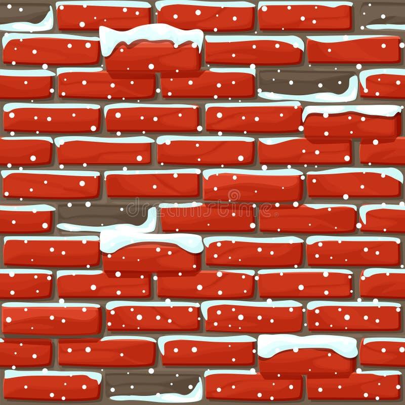 Снежно покрытая кирпичная стена текстура гладкая Стенка камней векторной иллюстрации иллюстрация вектора
