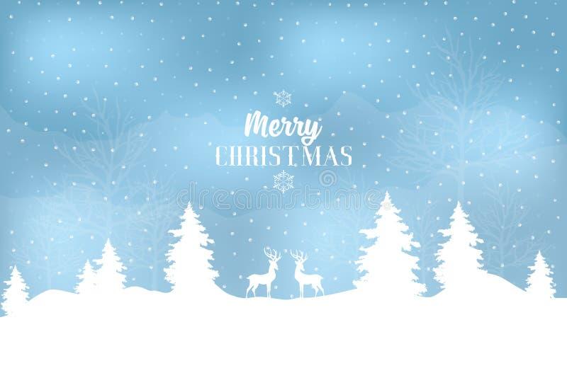 Снежный зимний пейзаж со снежинками, оленями и словами Веселое Рождество иллюстрация вектора