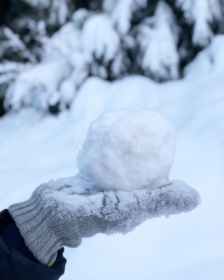 Снежный ком в gloved руке стоковые изображения