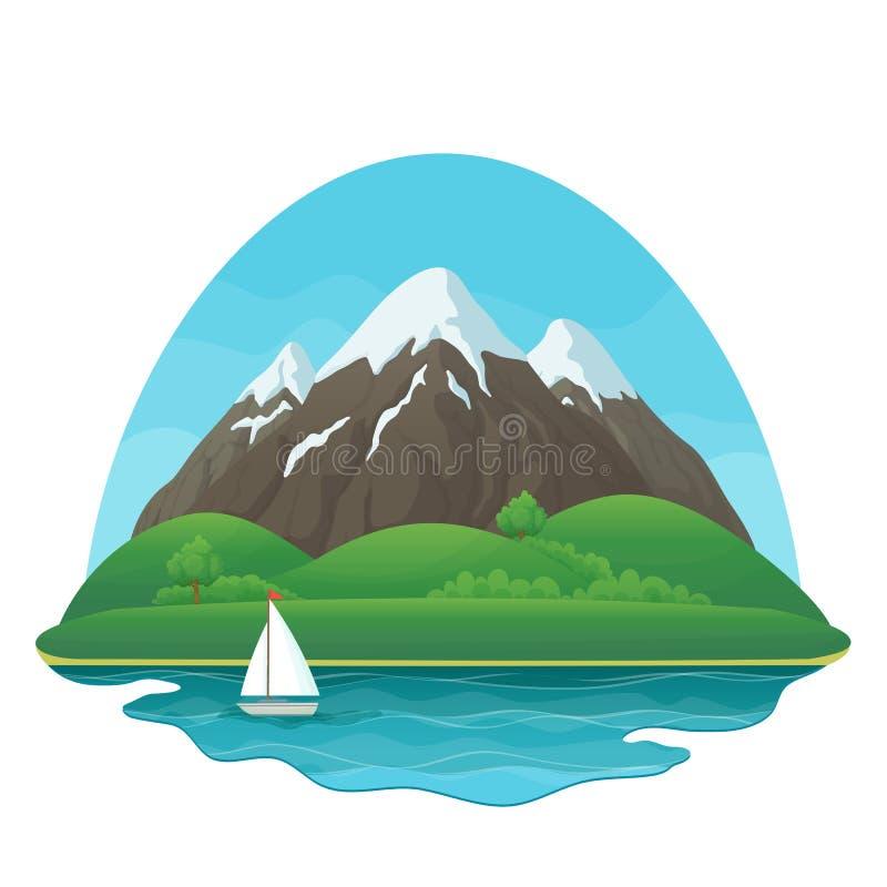 3 снежных горы с зелеными холмами, сочными деревьями и кустами, озером, парусником и голубым небом на белой предпосылке бесплатная иллюстрация