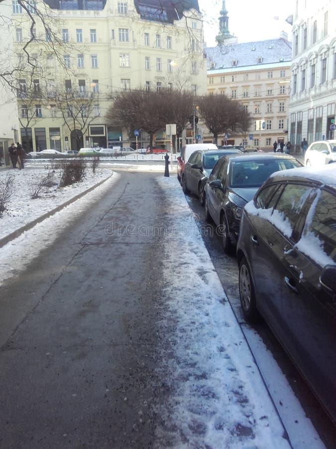Снежок в городе стоковые изображения