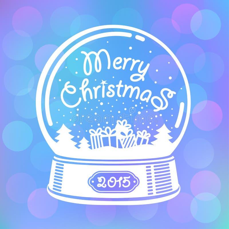 снежок глобуса рождества карточки иллюстрация вектора
