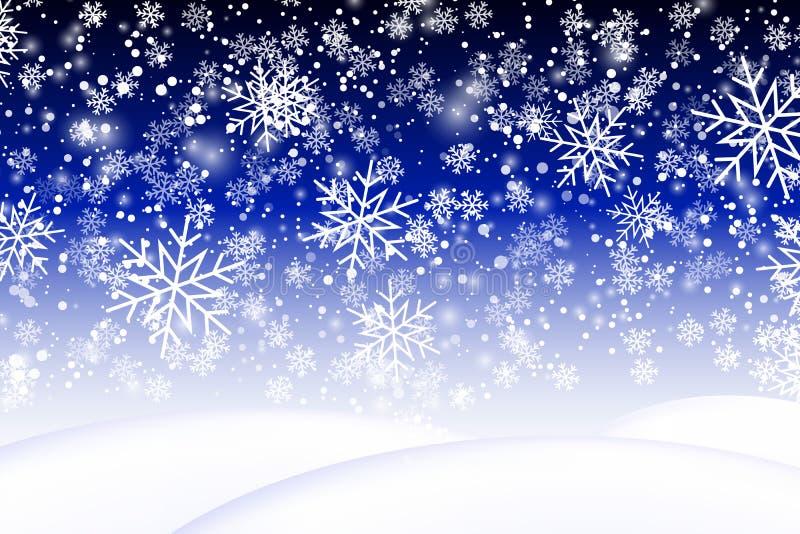 снежок предпосылки падая Реалистический сугроб Иллюстрация вектора с снежинками зима ландшафта снежная 10 eps иллюстрация штока