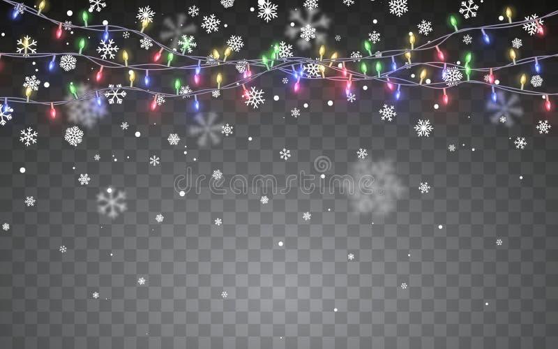 снежок рождества Падая белые снежинки на темной предпосылке Гирлянда цвета Xmas, праздничные украшения света рождества накаляя бесплатная иллюстрация
