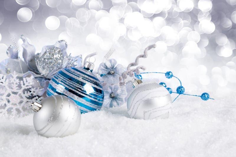 снежок рождества шариков голубой стоковые изображения