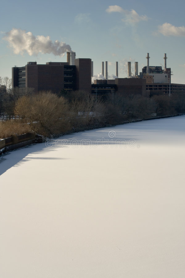 снежок schuylkill реки фабрики стоковые фото