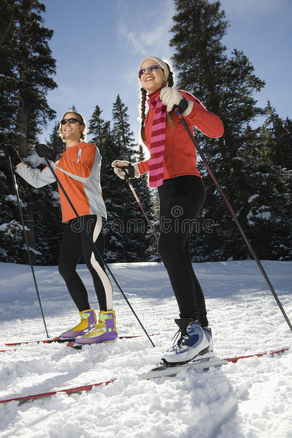 снежок skiiers страны перекрестный стоковое изображение rf