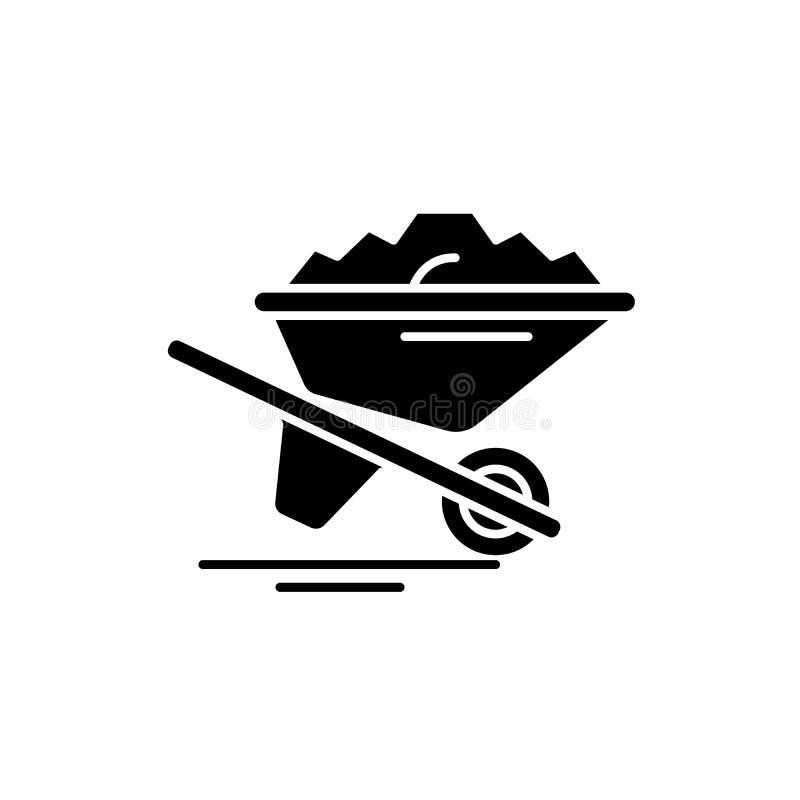 Снесите значок черноты песка, знак вектора на изолированной предпосылке Снесите символ концепции песка, иллюстрацию иллюстрация штока
