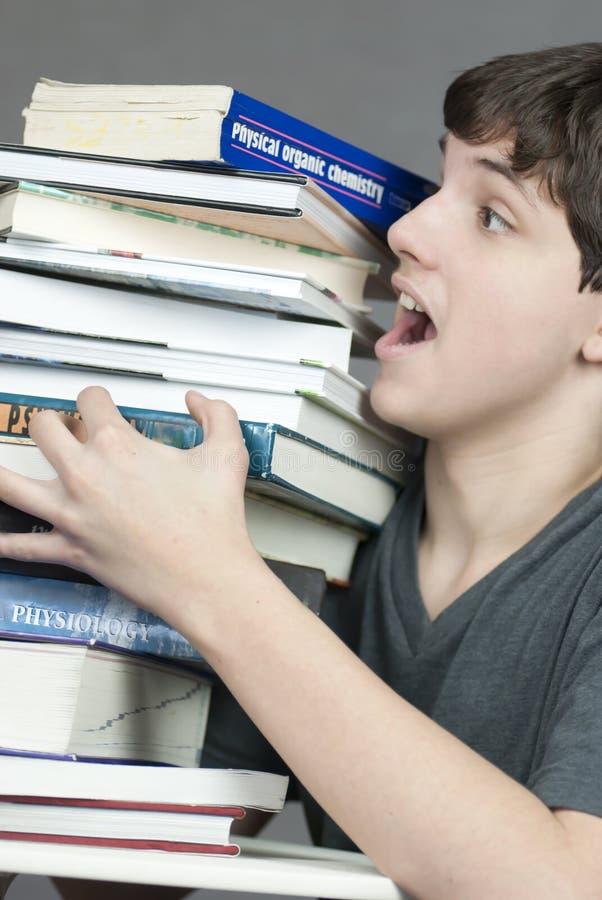 снесите учебники стога предназначенные для подростков к нарушенным равновесие попыткам стоковое изображение
