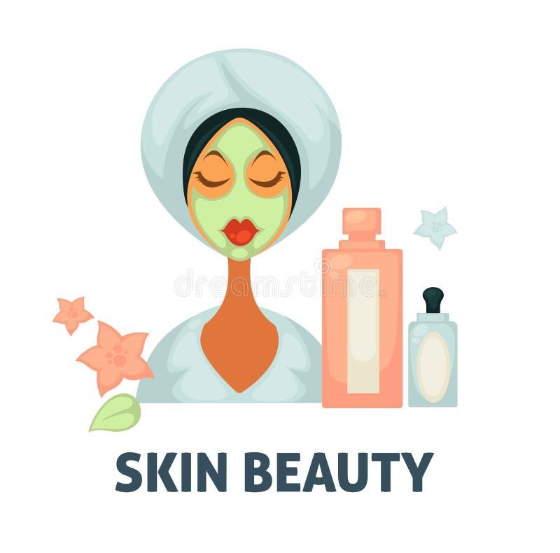 Снимите кожу с значка вектора салона здоровья КУРОРТА красоты женщины с лицевой маской и косметическими увлажнителями иллюстрация вектора