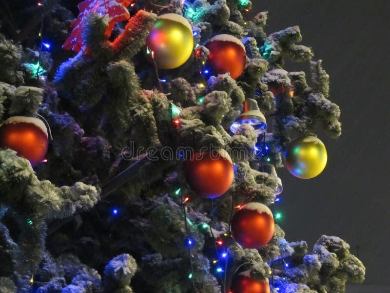 Снимок ночи Элегантная рождественская елка украшенная с игрушками, шариками и гирляндой рождества стоковые фотографии rf