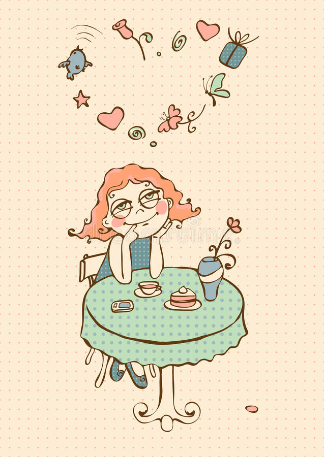 Сновидения девушки кафа бесплатная иллюстрация