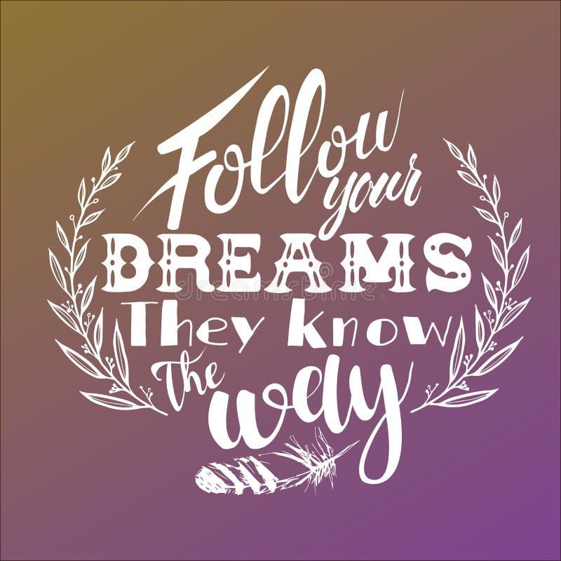 сновидения следуют за вашим Они знают путь бесплатная иллюстрация