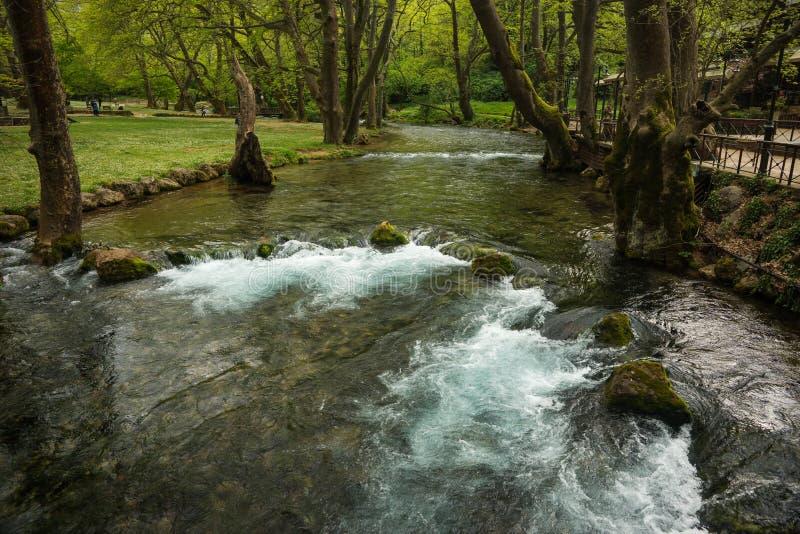 Сногсшибательные водопады в Naoussa, северной Греции стоковые изображения rf