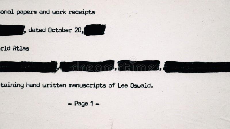 Сноска документа ЧИА секретная стоковое изображение